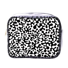Black And White Blots Mini Travel Toiletry Bag (one Side)