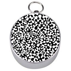 Black and White Blots Silver Compass