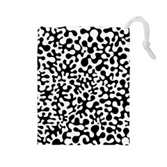 Black And White Blots Drawstring Pouch (large)