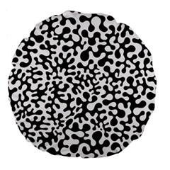 Black and White Blots Large 18  Premium Flano Round Cushion