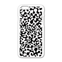 Black and White Blots Apple iPhone 6 White Enamel Case