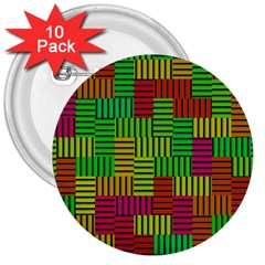 Colorful Stripes And Squares 3  Button (10 Pack)