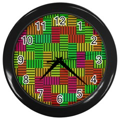 Colorful Stripes And Squares Wall Clock (black)