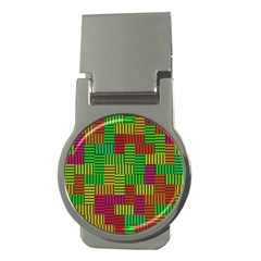 Colorful Stripes And Squares Money Clip (round)