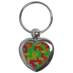 Colorful Stripes And Squares Key Chain (heart)