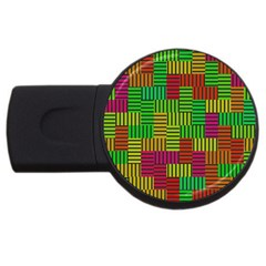 Colorful Stripes And Squares Usb Flash Drive Round (4 Gb)