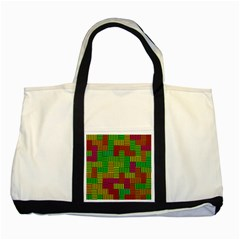 Colorful Stripes And Squares Two Tone Tote Bag