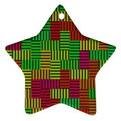 Colorful Stripes And Squares Star Ornament (two Sides)