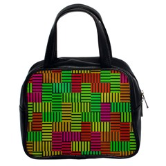 Colorful Stripes And Squares Classic Handbag (two Sides)