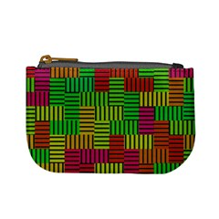 Colorful Stripes And Squares Mini Coin Purse