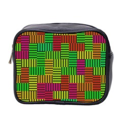 Colorful Stripes And Squares Mini Toiletries Bag (two Sides)