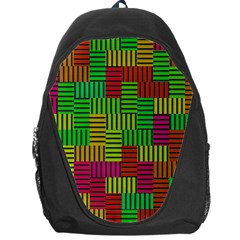 Colorful Stripes And Squares Backpack Bag