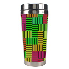 Colorful Stripes And Squares Stainless Steel Travel Tumbler