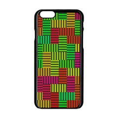 Colorful stripes and squares Apple iPhone 6 Black Enamel Case