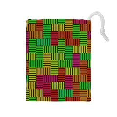 Colorful Stripes And Squares Drawstring Pouch