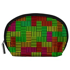 Colorful Stripes And Squares Accessory Pouch
