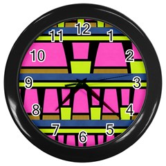 Trapeze And Stripes Wall Clock (black)