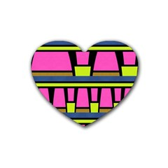Trapeze And Stripes Rubber Coaster (heart)