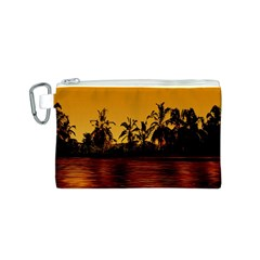 Tropical Sunset Paradise Canvas Cosmetic Bag (Small)