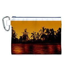 Tropical Sunset Paradise Canvas Cosmetic Bag (Large)