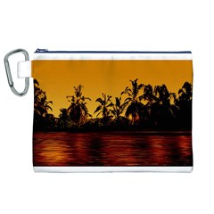 Tropical Sunset Paradise Canvas Cosmetic Bag (XL)