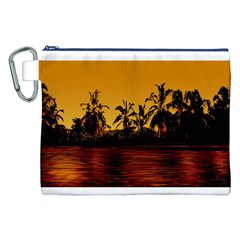 Tropical Sunset Paradise Canvas Cosmetic Bag (XXL)
