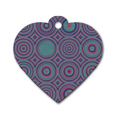 Concentric Circles Pattern Dog Tag Heart (two Sides)