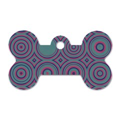 Concentric Circles Pattern Dog Tag Bone (one Side)