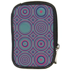 Concentric Circles Pattern Compact Camera Leather Case