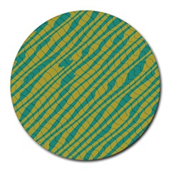 Blue Yellow Waves Round Mousepad