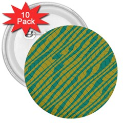 Blue Yellow Waves 3  Button (10 Pack)