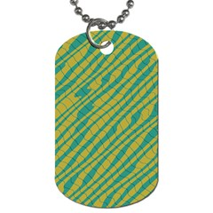 Blue Yellow Waves Dog Tag (one Side)