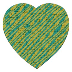 Blue Yellow Waves Jigsaw Puzzle (heart)