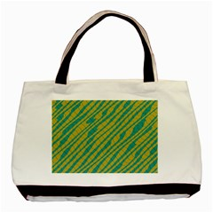 Blue Yellow Waves Basic Tote Bag