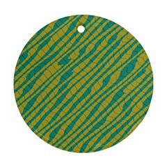Blue Yellow Waves Round Ornament (two Sides)