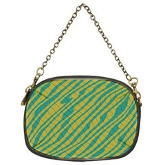Blue Yellow Waves Chain Purse (two Sides)