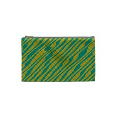 Blue Yellow Waves Cosmetic Bag (small)