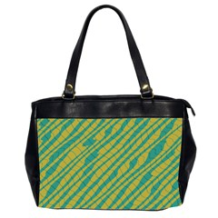 Blue Yellow Waves Oversize Office Handbag (2 Sides)