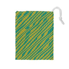 Blue Yellow Waves Drawstring Pouch