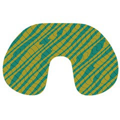 Blue yellow waves Travel Neck Pillow