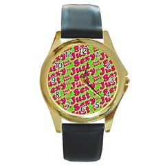 Just Sexy Quote Typographic Pattern Round Gold Metal Watches