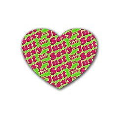 Just Sexy Quote Typographic Pattern Heart Coaster (4 Pack)