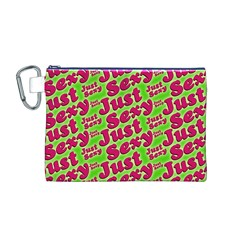 Just Sexy Quote Typographic Pattern Canvas Cosmetic Bag (M)