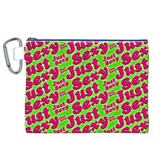 Just Sexy Quote Typographic Pattern Canvas Cosmetic Bag (XL)