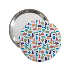 Blue Colorful Cats Silhouettes Pattern 2 25  Handbag Mirrors