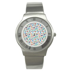 Blue Colorful Cats Silhouettes Pattern Stainless Steel Watches