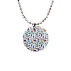 Blue Colorful Cats Silhouettes Pattern Button Necklaces