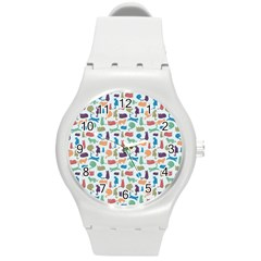 Blue Colorful Cats Silhouettes Pattern Round Plastic Sport Watch (m)