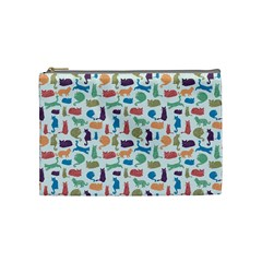 Blue Colorful Cats Silhouettes Pattern Cosmetic Bag (medium)