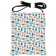 Blue Colorful Cats Silhouettes Pattern Shoulder Sling Bags